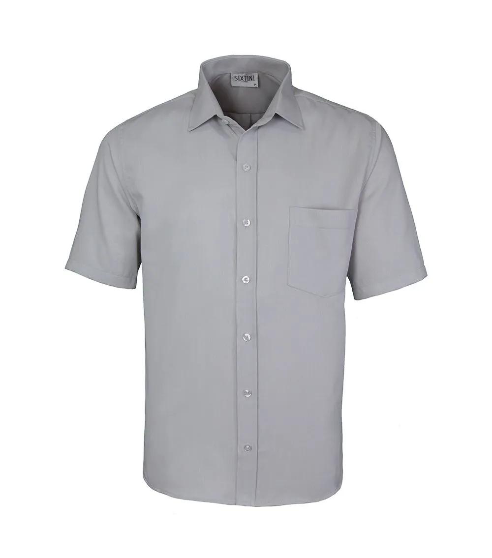 Camisa Tradicional Maquinetada Cinza Manga Curta