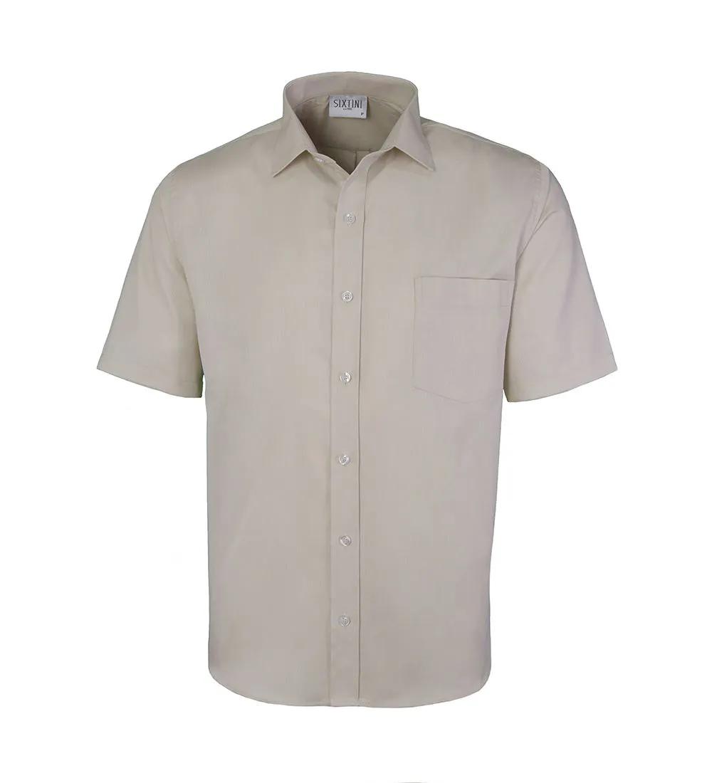 Camisa Tradicional Maquinetada Creme Manga Curta