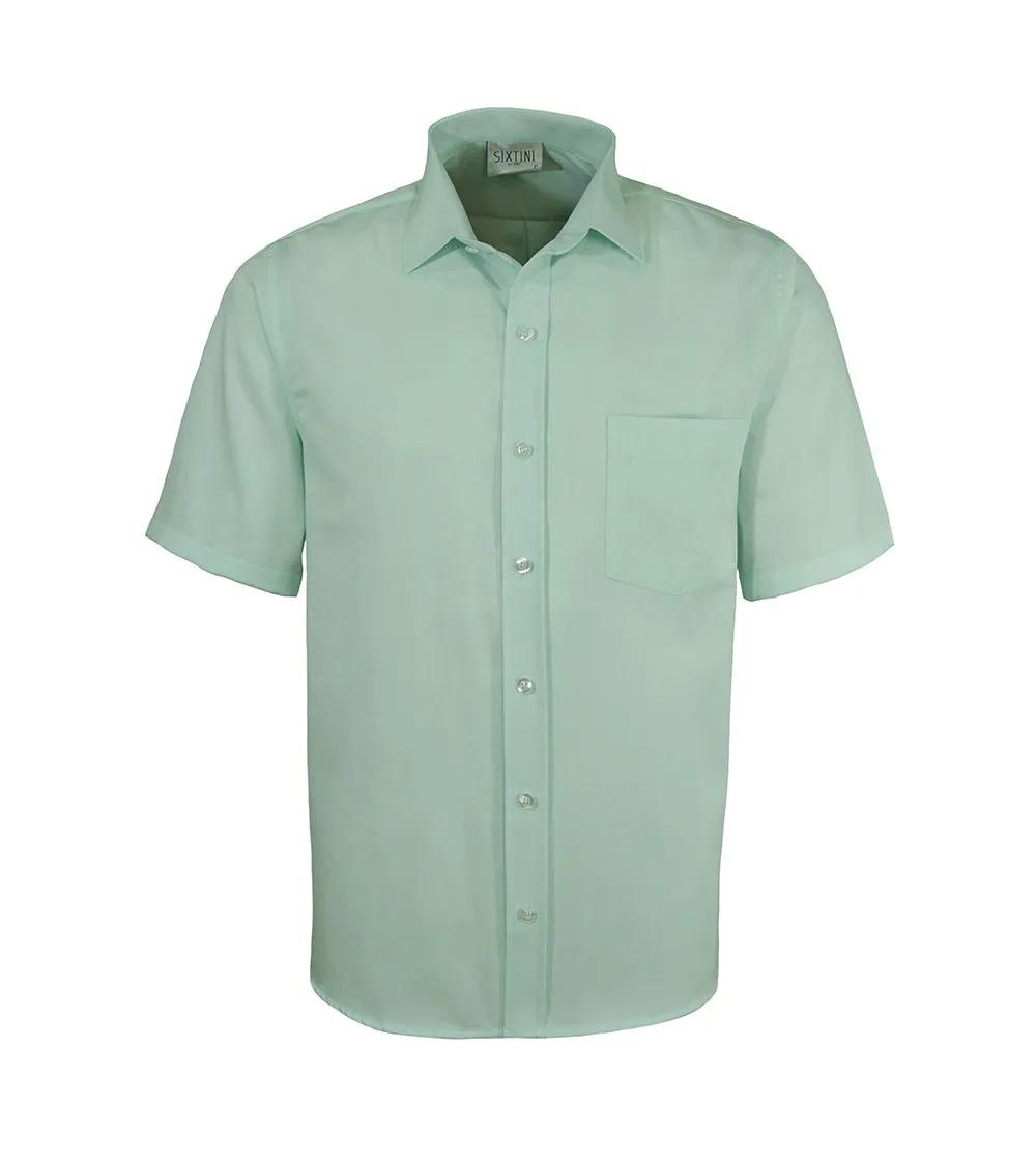 Camisa Tradicional Maquinetada Menta Manga Curta