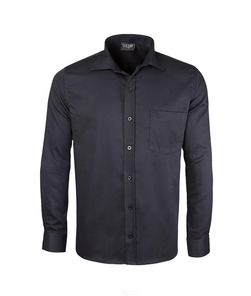 Camisa Social Tradicional Passa Fácil Maquinetada Preta