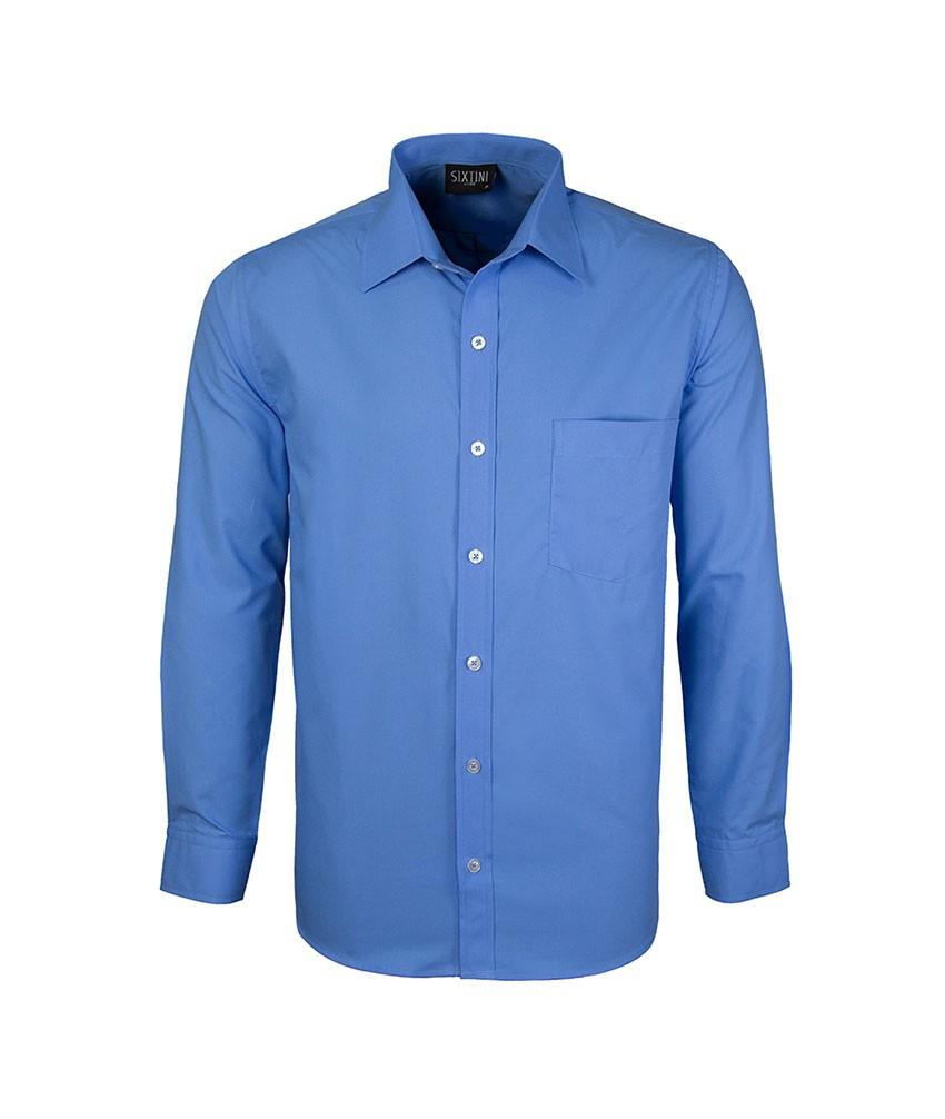 Camisa Social Tradicional Passa Fácil Azul Pacífico