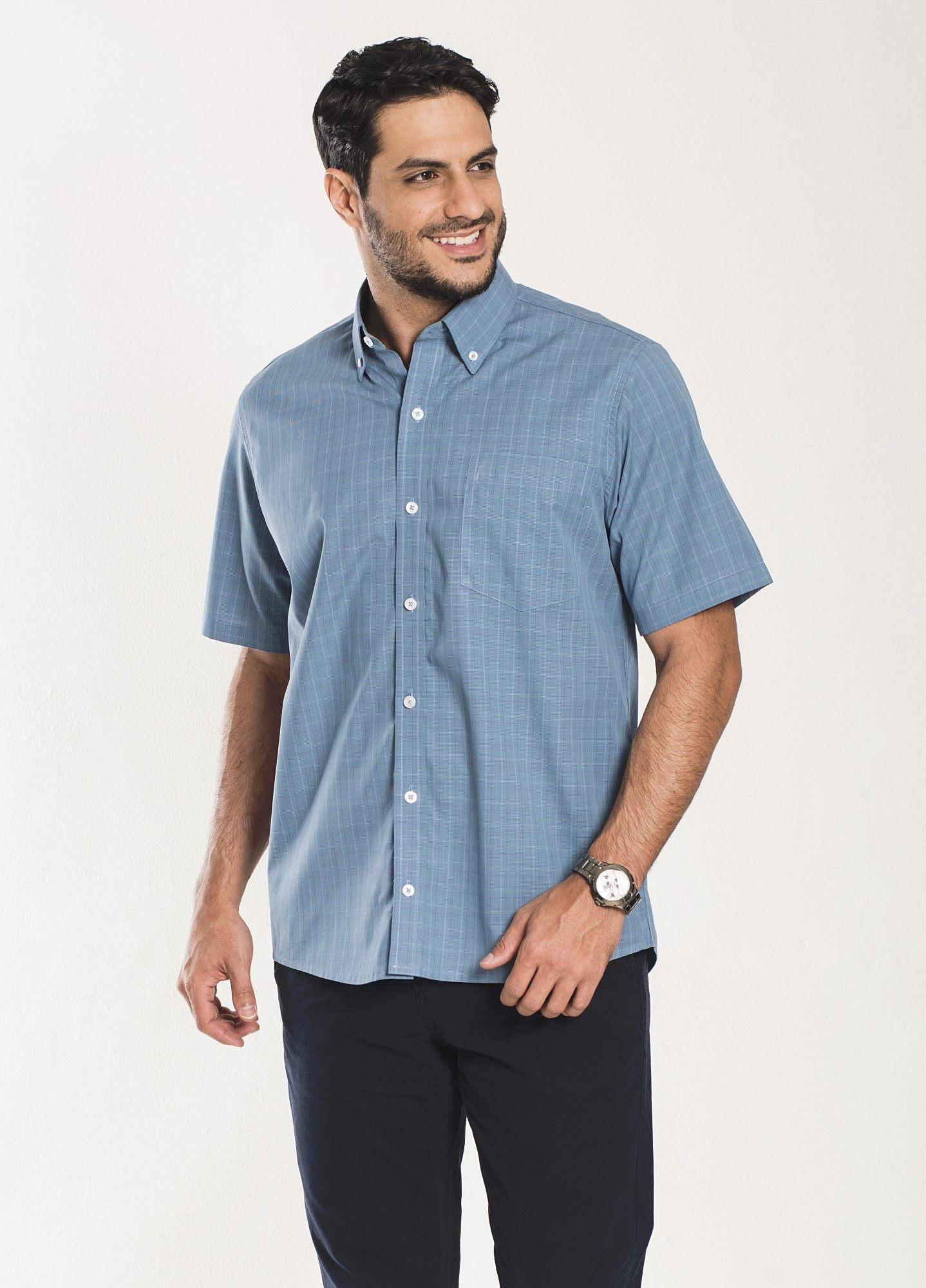 Camisa Xadrez Manga Curta Azul 2