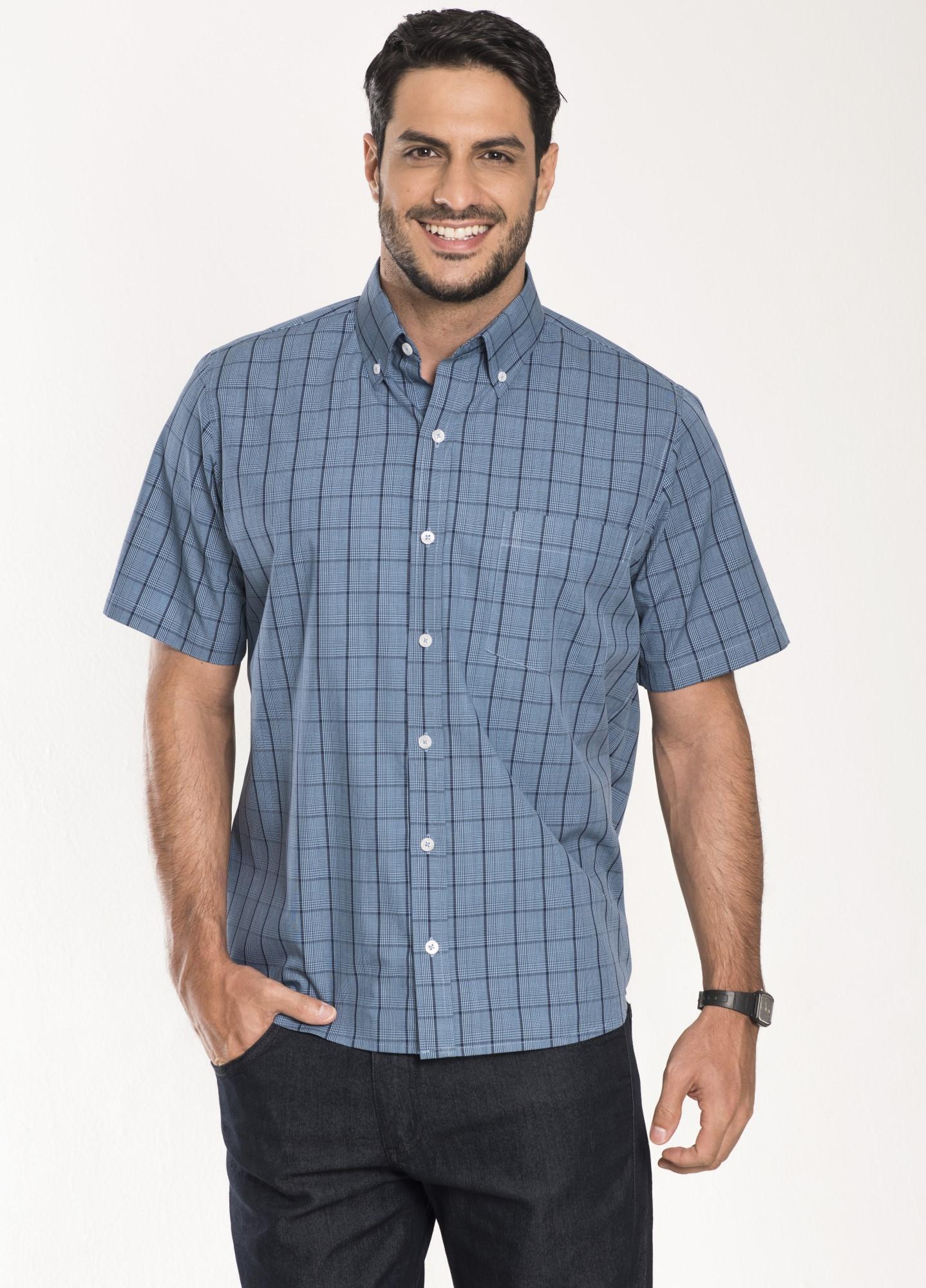 Camisa Xadrez Manga Curta Azul