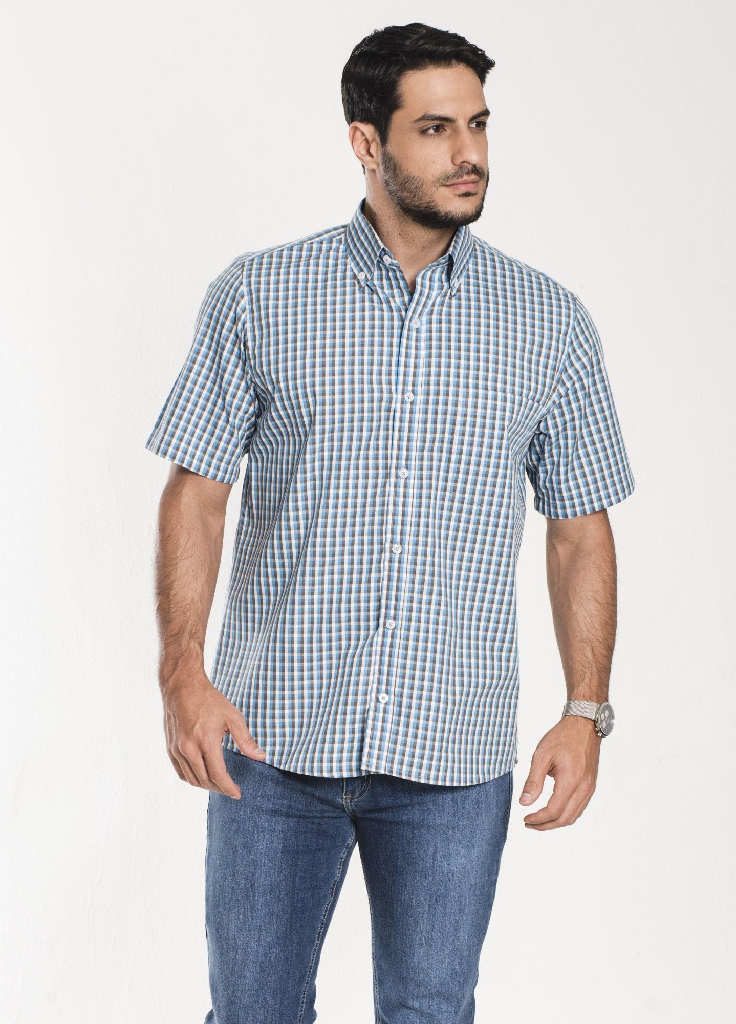 Camisa Xadrez Manga Curta Azul e Branca 2
