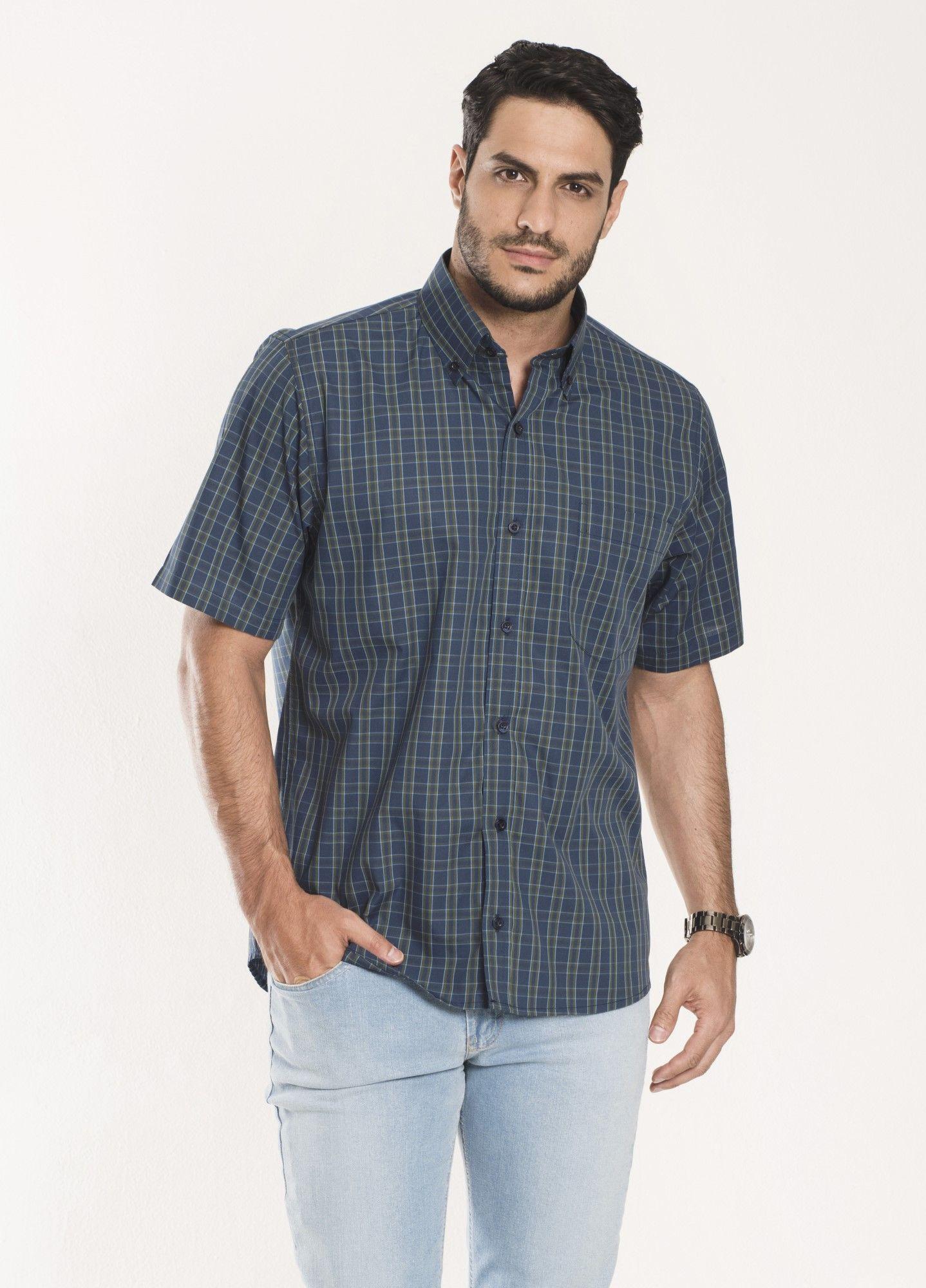 Camisa Xadrez Manga Curta Azul e Verde