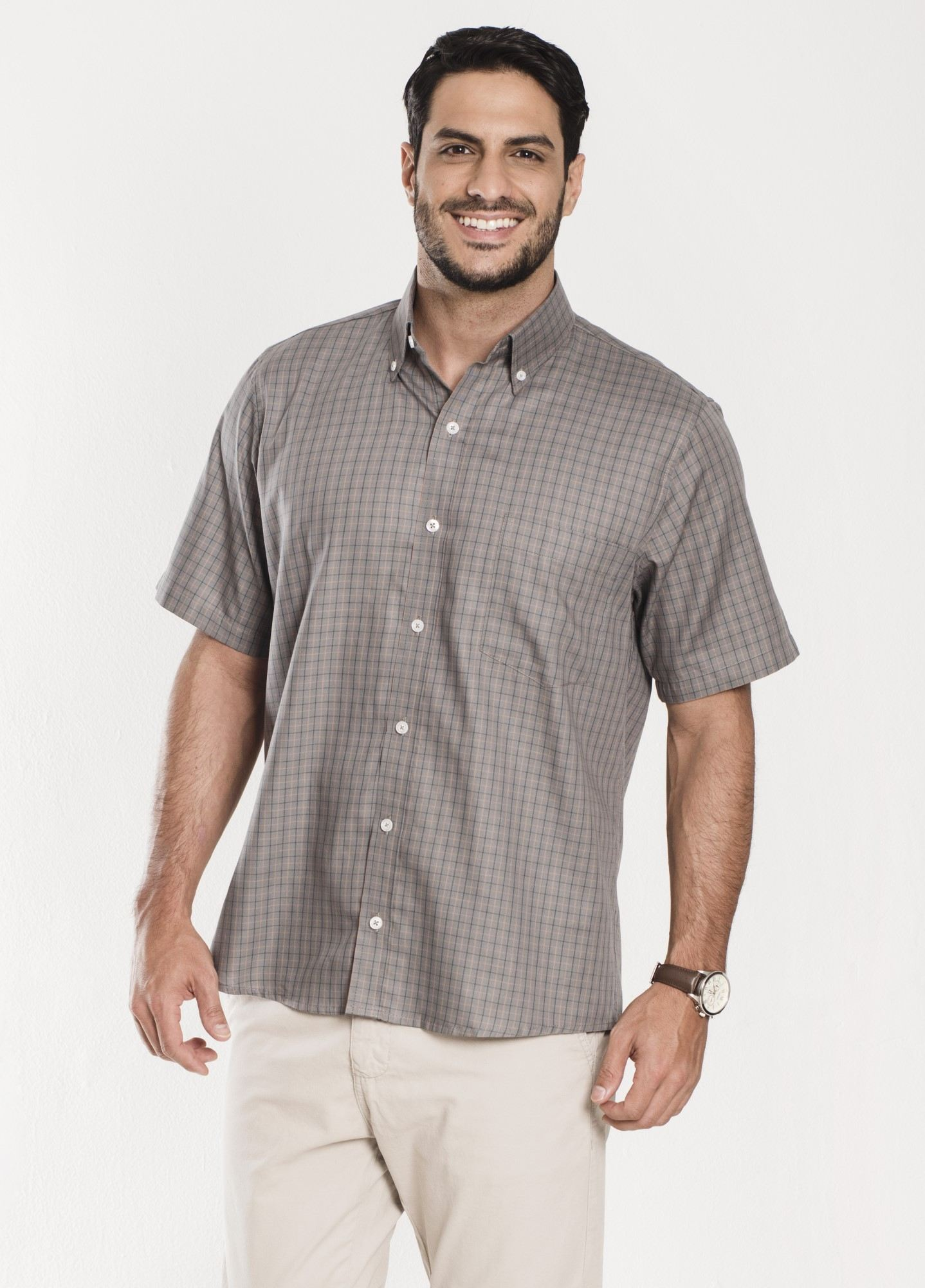 Camisa Xadrez Manga Curta Cinza
