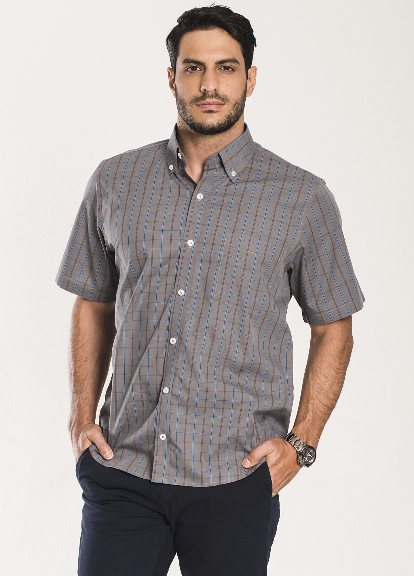 Camisa Xadrez Manga Curta Cinza e Azul