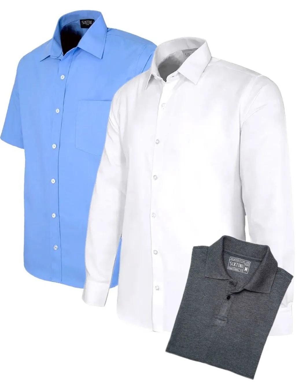 Kit camisa manga longa, camisa manga curta e camiseta polo