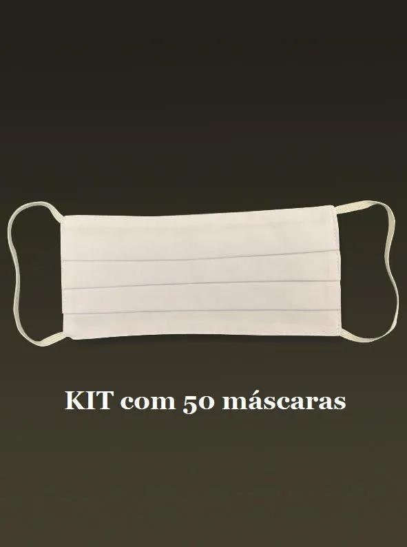 Máscara de tecido reutilizável - Kit com 50 unidades