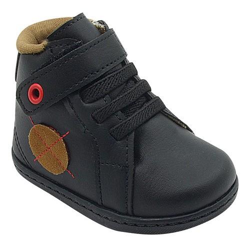 Abotinado Infantil Pé com Pé Calce Fácil Velcro Preto Menino
