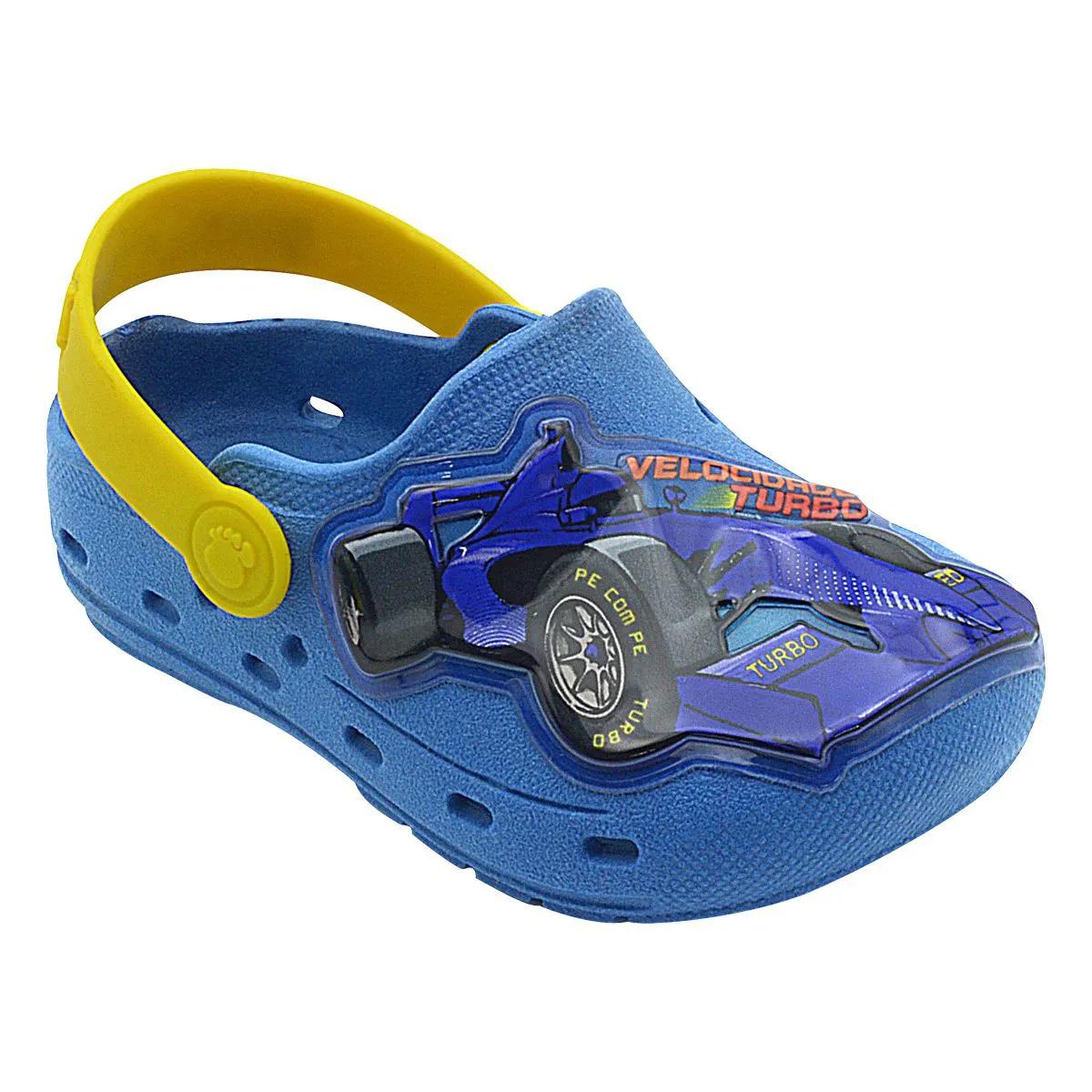 Babuche Infantil Carro de Corrida Azul Royal e Amarelo Masculino