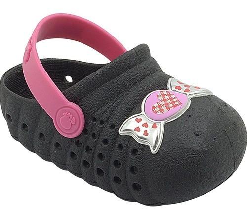 Babuche Infantil Docinho Preto e Pink Feminino