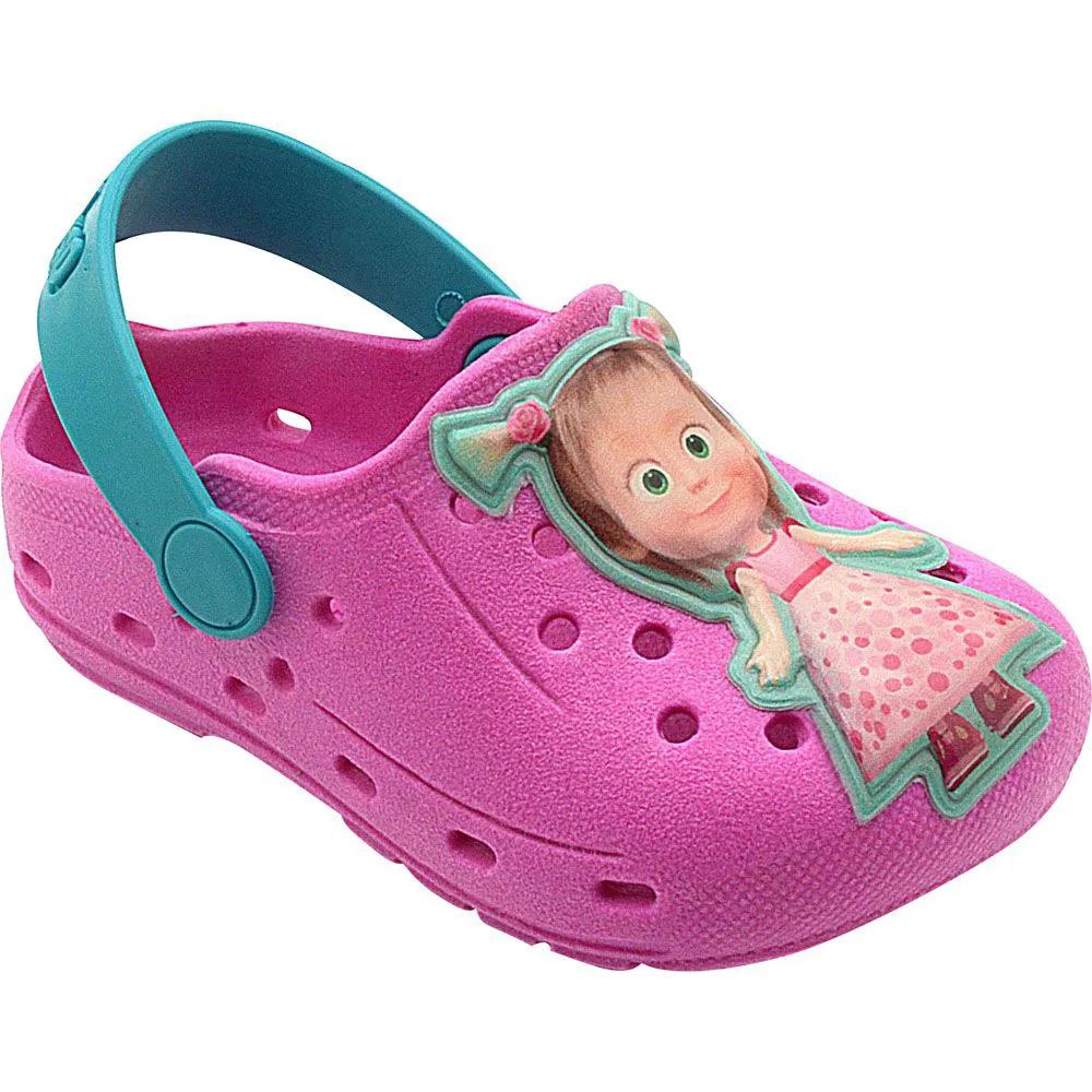 Babuche Infantil Masha e o Urso Pink com Azul Turquesa Menina