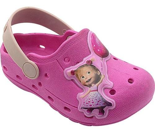 Babuche Infantil Masha e o Urso Pink com Rosa Feminino