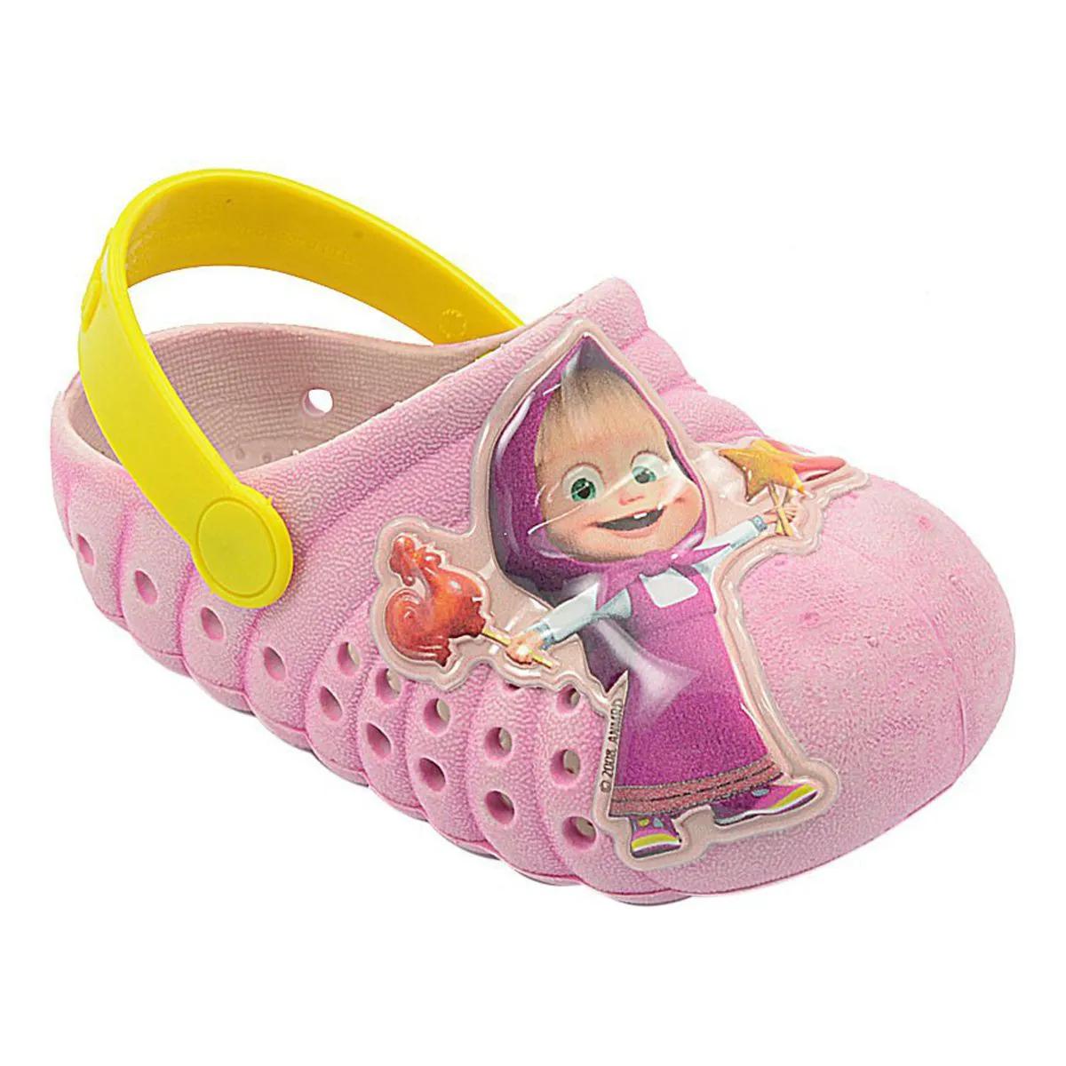 Babuche Infantil Masha e o Urso Pink e Amarelo Feminino