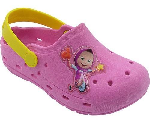 Babuche Infantil Masha e o Urso Pink e Amarelo Menina