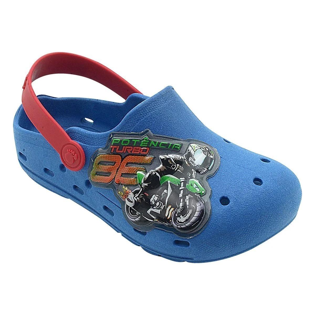 Babuche Infantil Moto Azul Royal e Vermelho Masculino