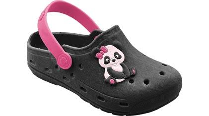 Babuche Infantil Panda Preto com Pink Menina