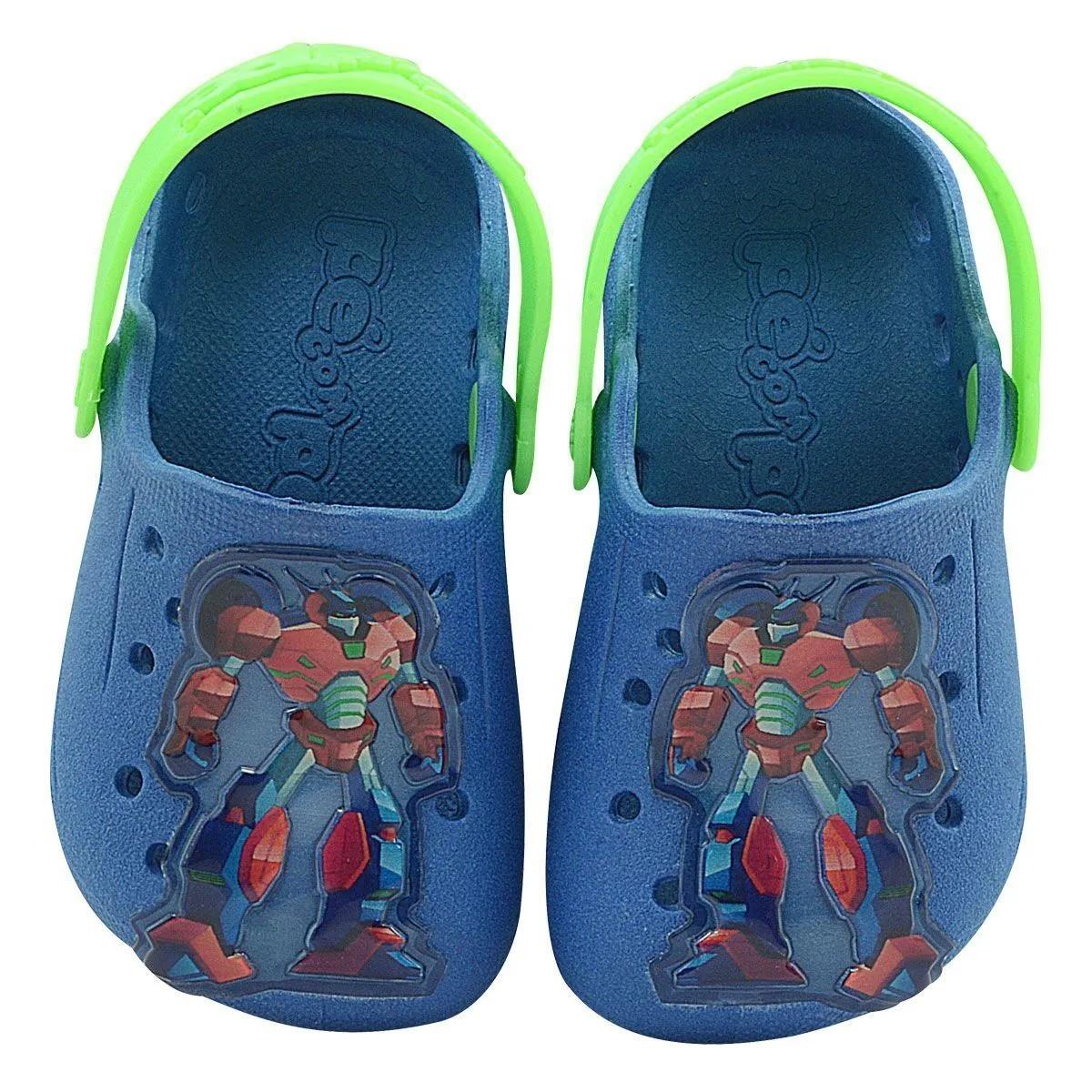 Babuche Infantil Robô Azul Royal e Verde Masculino