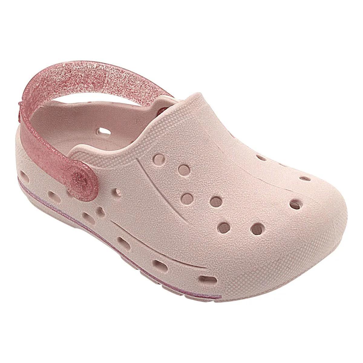 Babuche Infantil Rosa Claro e Glitter Feminino