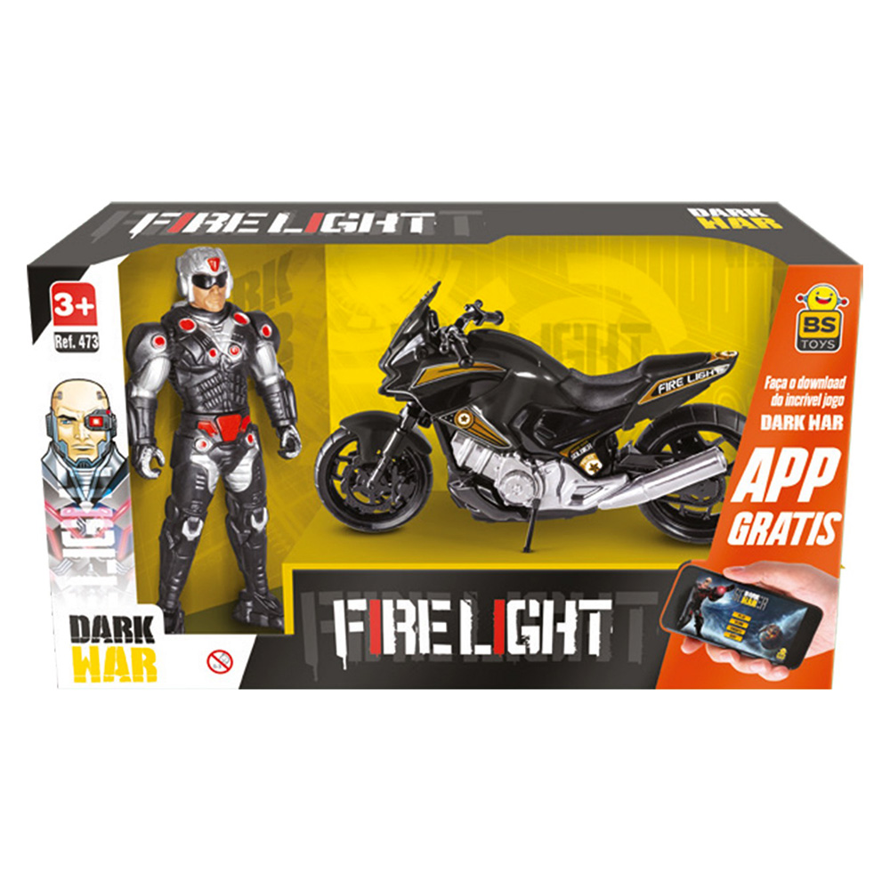 Boneco Fire Light Soldier com Moto Dark War