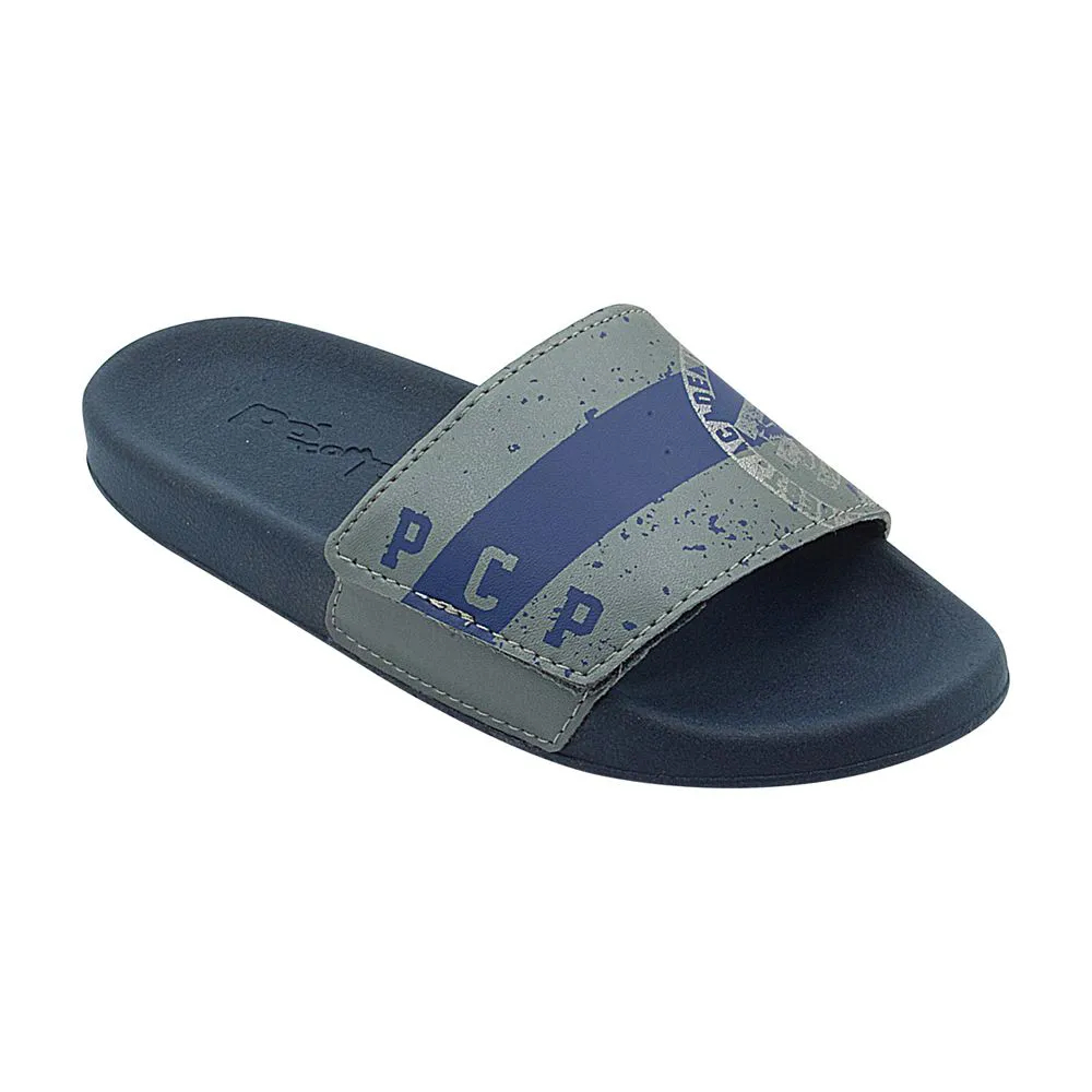 Chinelo Infantil Velcro Azul Marinho e Cinza Masculino