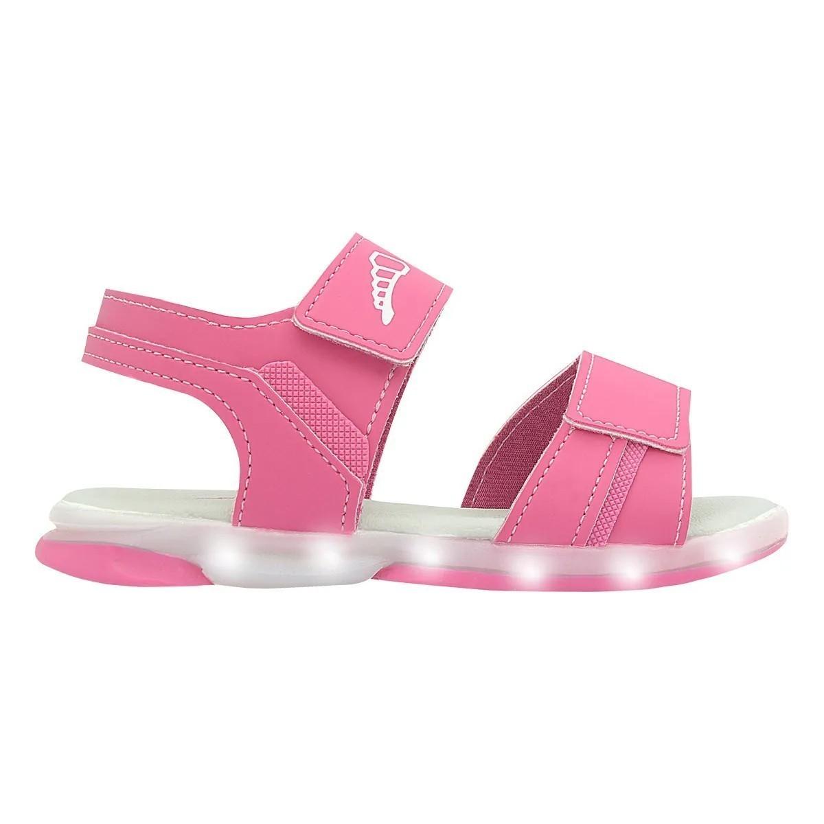 Papete Infantil Pé com Pé Led Pink Velcro Menina