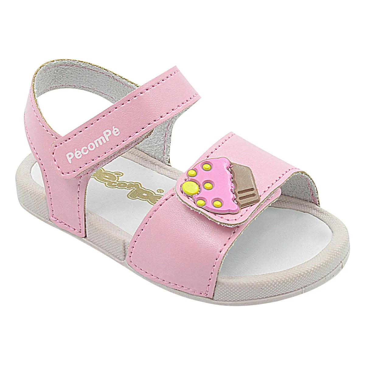 Papete Infantil Pé com Pé Calce Fácil Velcro Menina Rosa