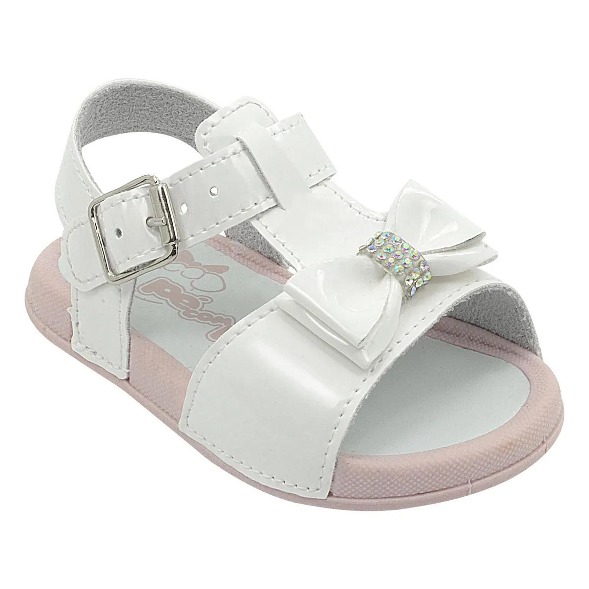 Papete Neném Infantil Com Lacinho Branco Feminina