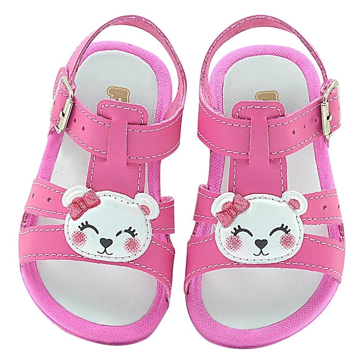 Papete Infantil Pé com Pé Ursinha Pink Fivela Menina Bebê