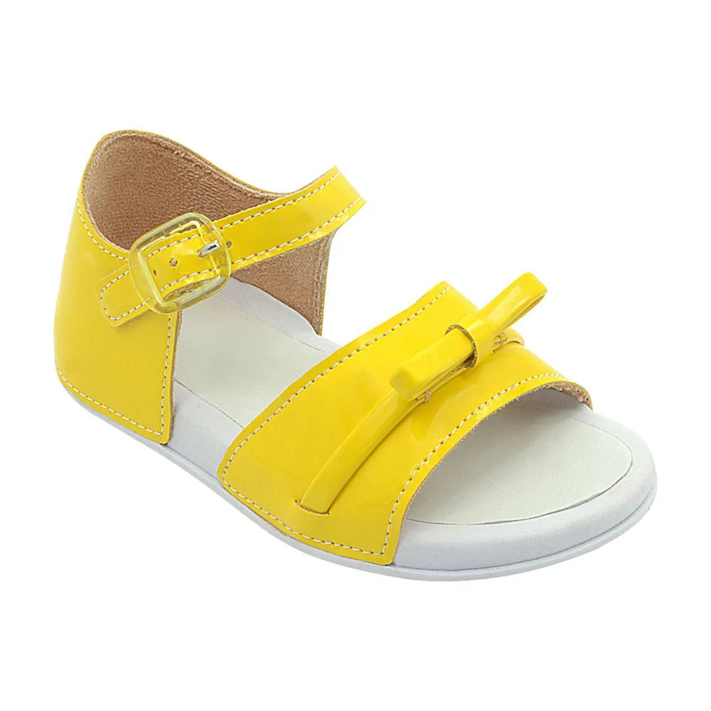 Sandália Infantil Amarela Laço Menina