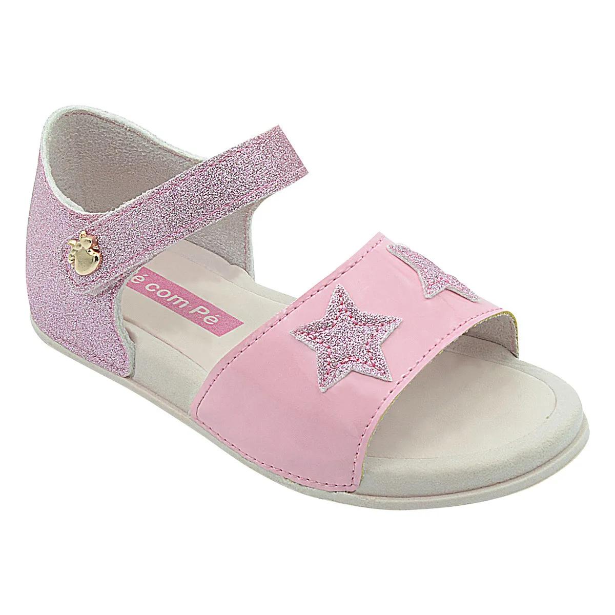 Sandália Infantil com Estrelinhas de Glitter Rosa Feminina