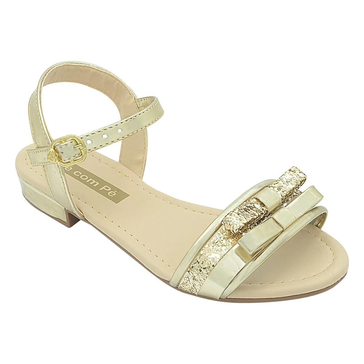 Sandália Infantil Dourada com Lacinho de Glitter Feminina