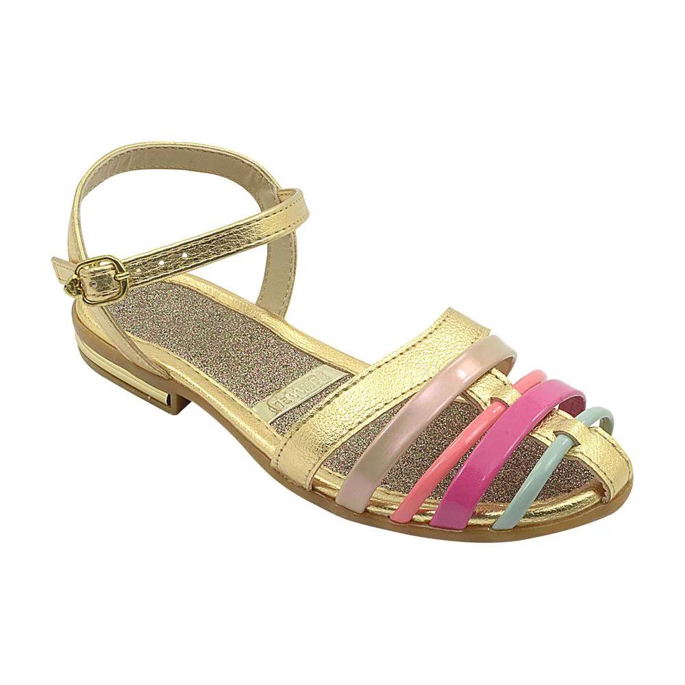 Sandália Infantil Dourada com Tiras Coloridas Feminina