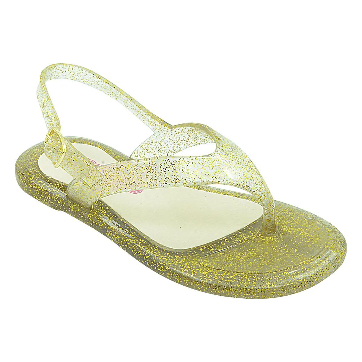 Sandália Infantil Emborrachada Dourada Glitter Menina