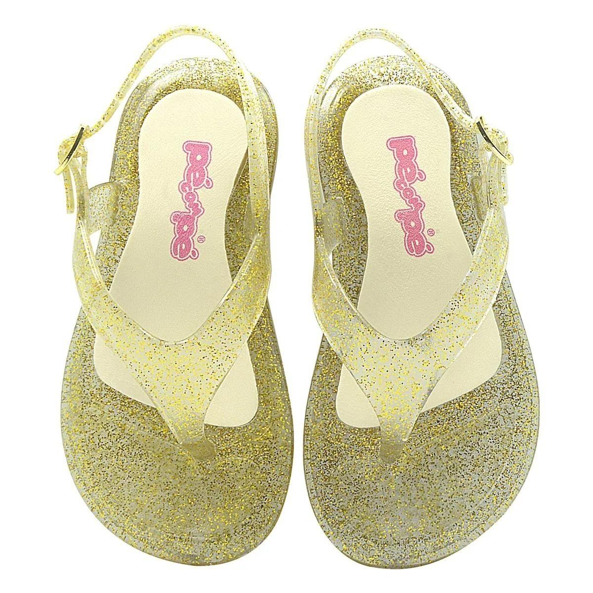 Sandália Infantil Pé com Pé Soft Glitter Dourado