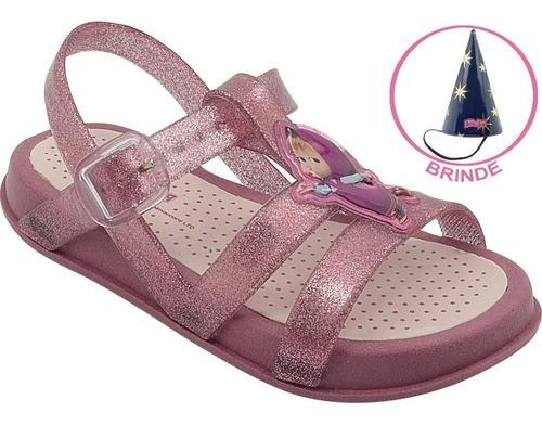 Sandália Infantil Emborrachada Masha Pink Glitter Brinde Chapéu Mágico