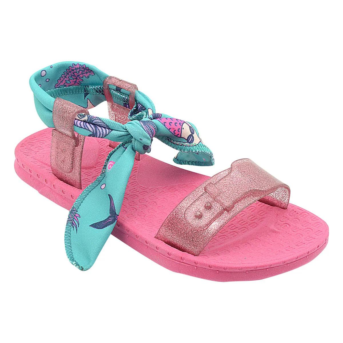Sandália Infantil Pé com Pé Wiki Laço de Amarrar Scrunchies Pink