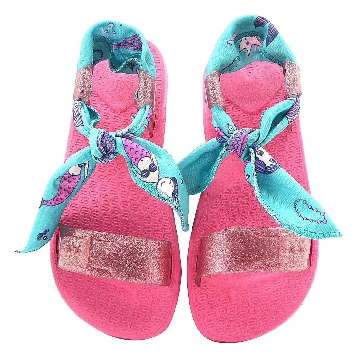 Sandália Infantil Pé com Pé Wiki Scrunchies Pink Menina