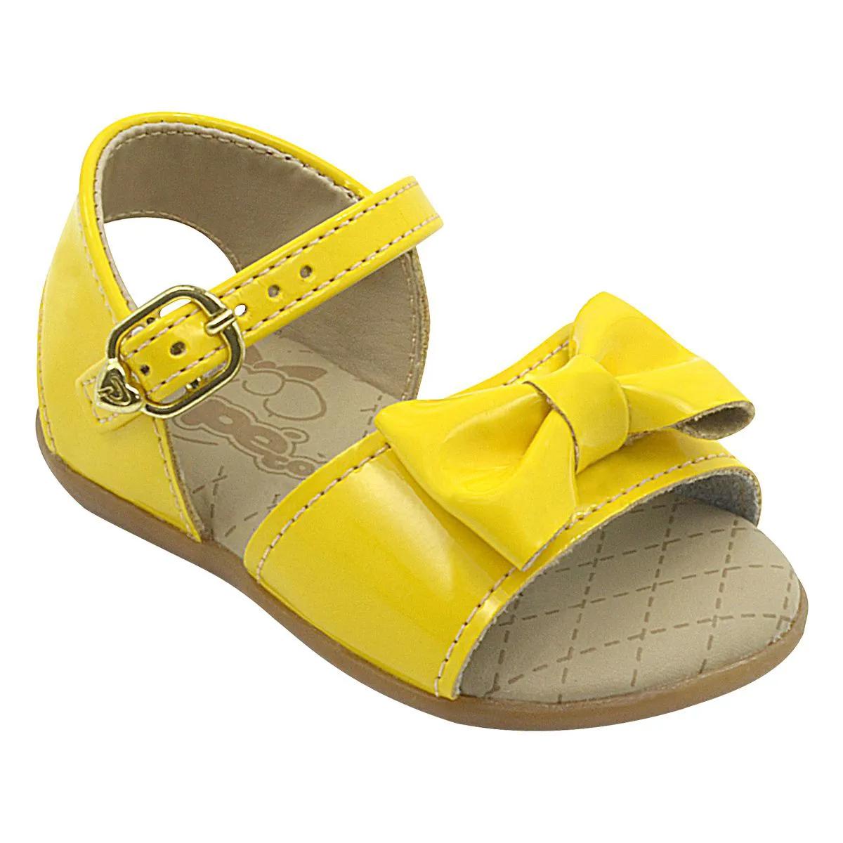 Sandália Infantil Neném Com Lacinho Amarelo