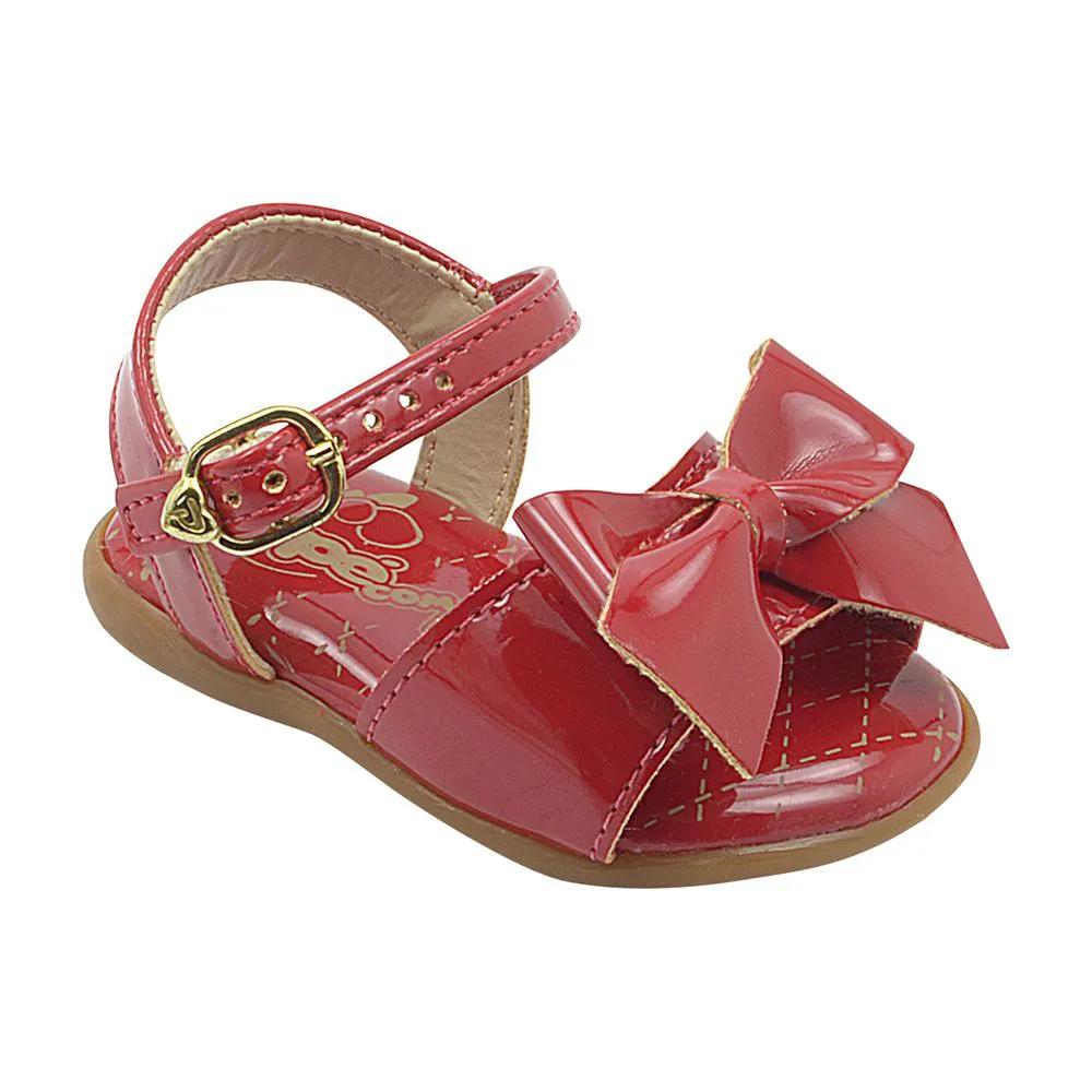 Sandália Infantil Neném Com Lacinho Vermelho