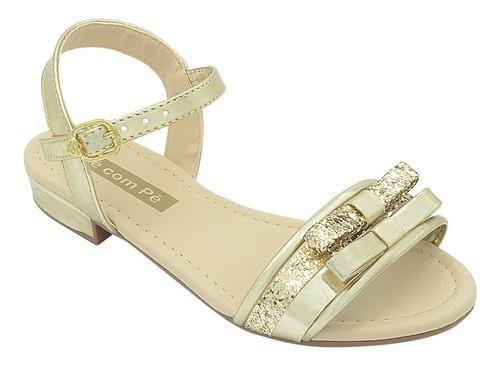 Sandália Infantil Pé com Pé Dourada com Lacinho de Glitter Menina