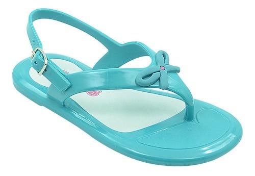 Sandália Infantil Pé com Pé Lacinho Azul Turquesa
