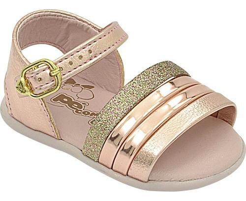 Sandália Infantil Pé com Pé Metalizada Nude Glitter Menina