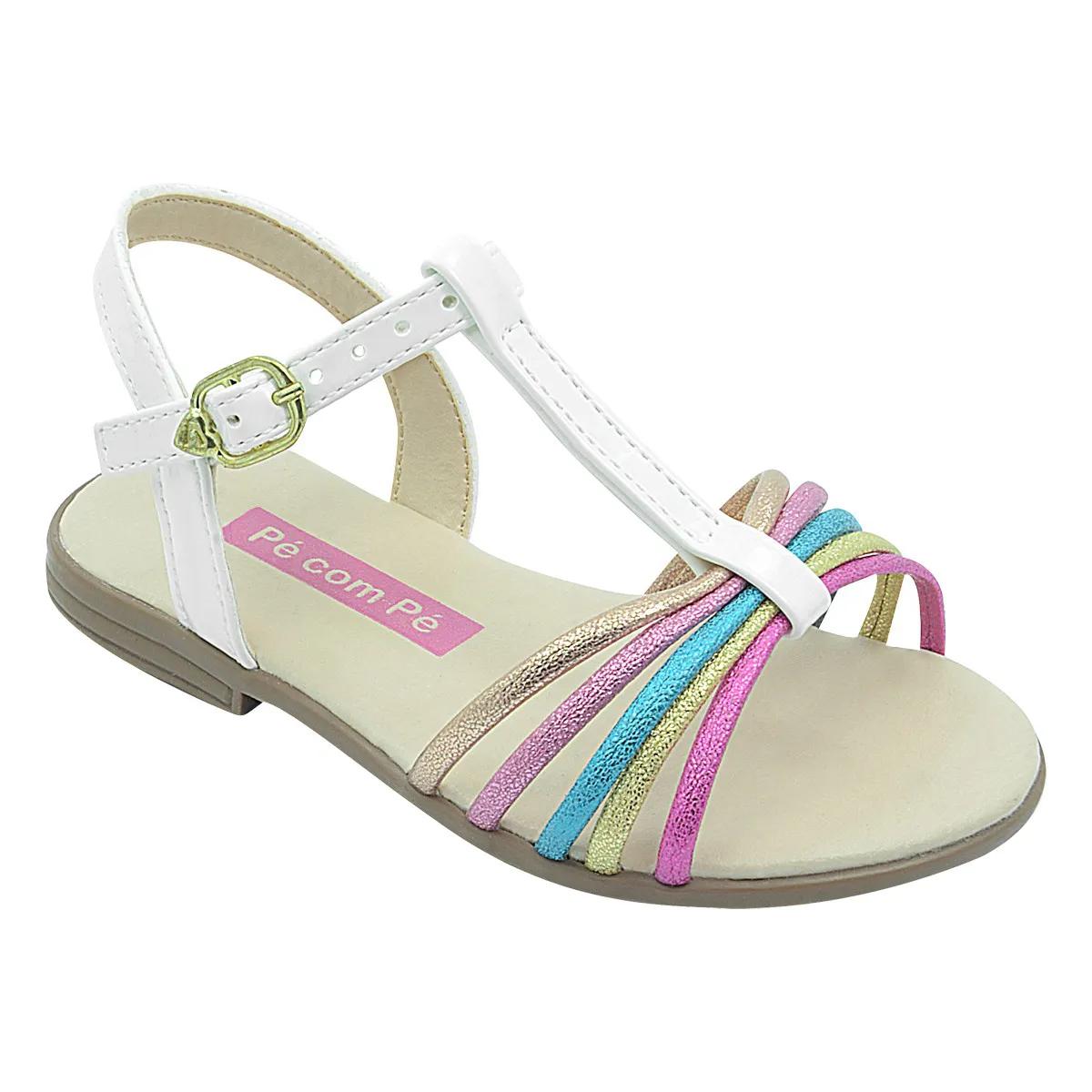 Sandália Infantil Slim Branca com Tiras Coloridas Feminina