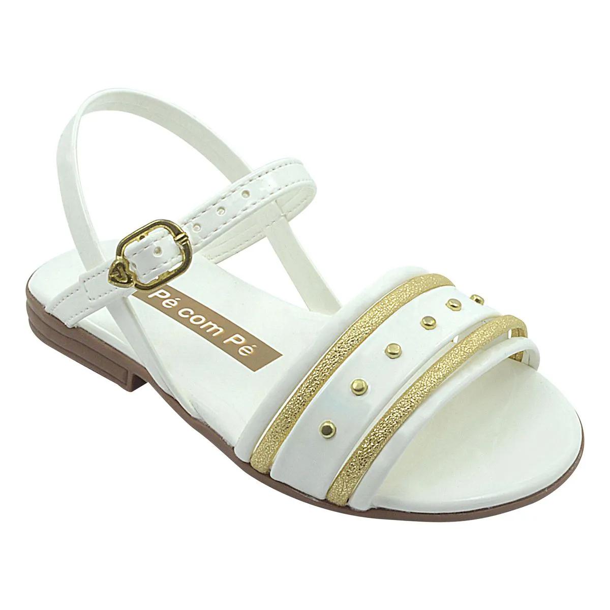 Sandália Infantil Slim Branco e Dourado Feminina