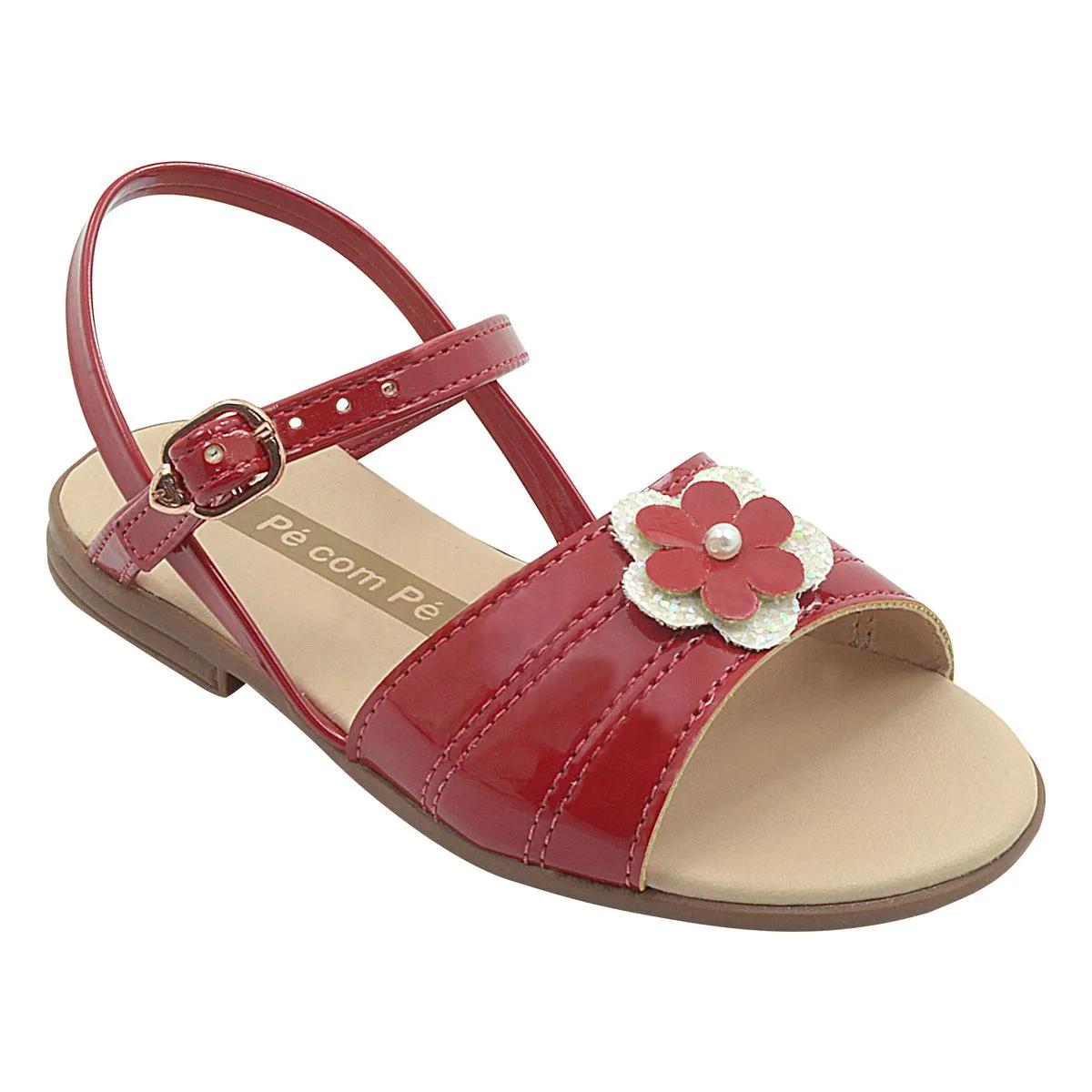 Sandália Infantil Slim Com Flor Vermelha Feminina