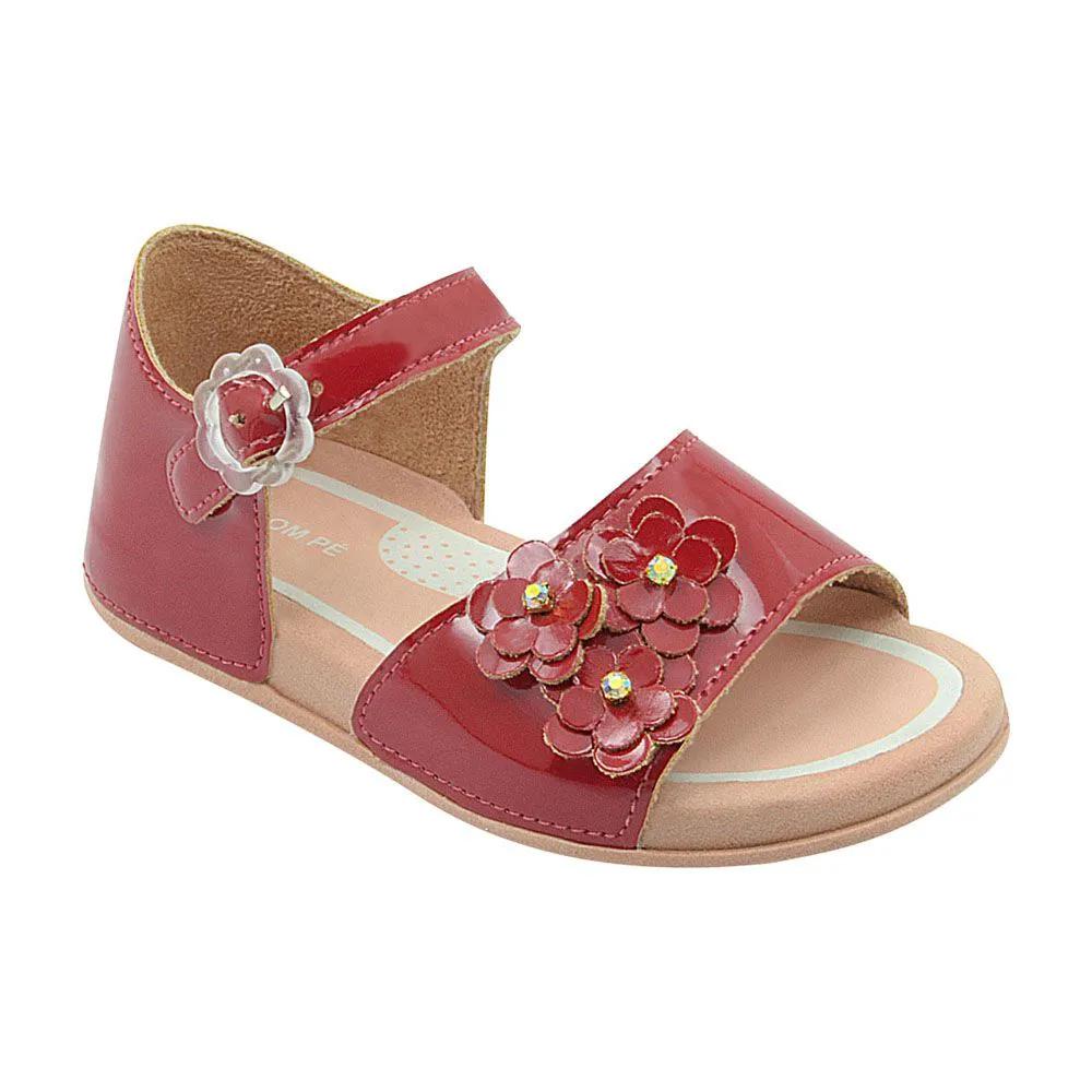 Sandália Infantil Vermelha com Flores Feminina