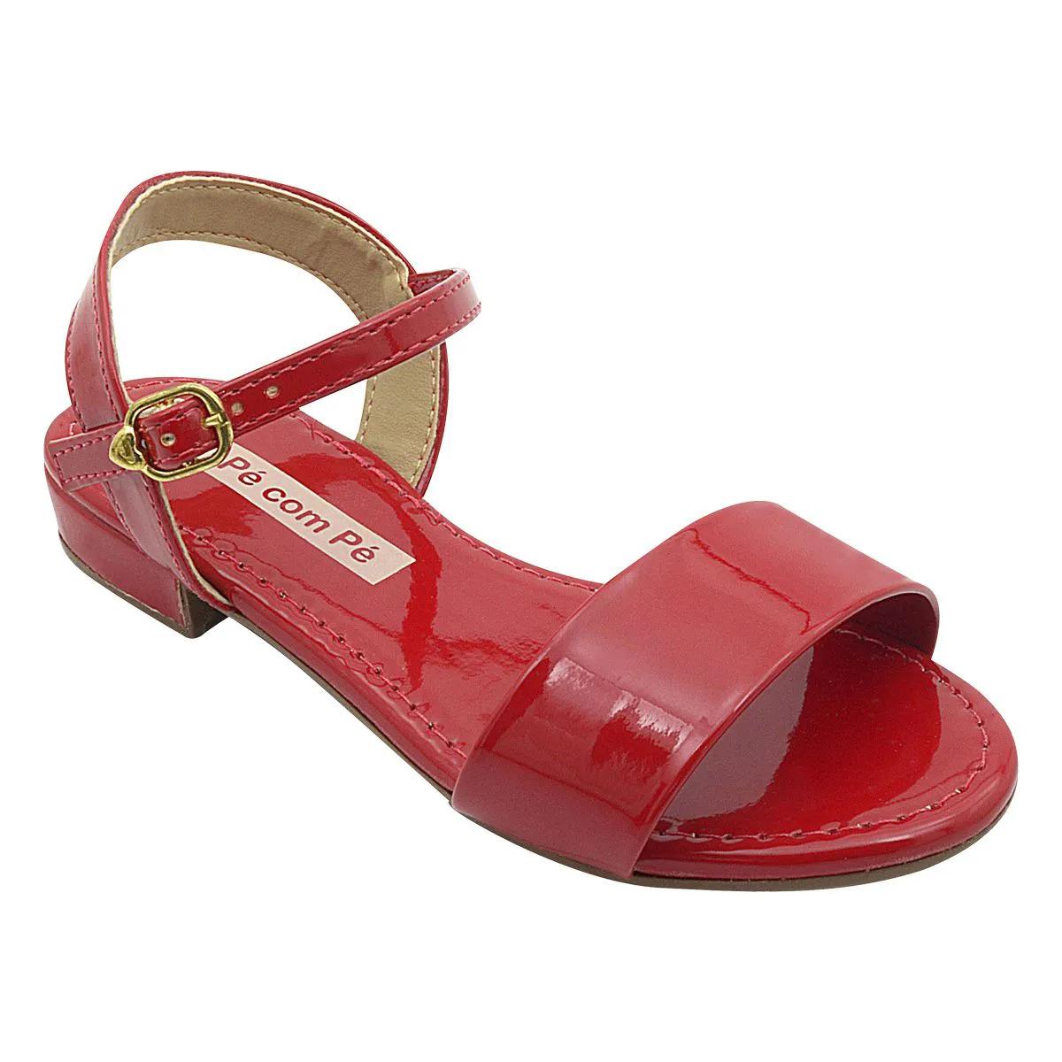 Sandália Infantil Vermelha Verniz Feminina