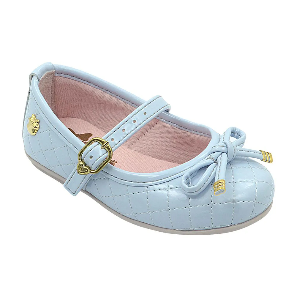 Sapatilha Infantil Pé com Pé Azul Claro Matelassê Menina